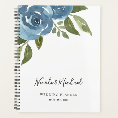 Elegant Dusty Blue Watercolor Floral Wedding Planner