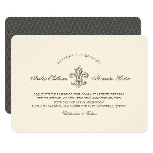 Elegant Fleur de Lis Wedding and RSVP 2 Invitation