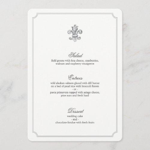 Elegant Fleur de Lis Wedding Menu 2