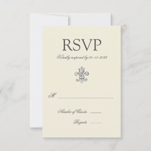 Elegant Fleur de Lis Wedding RSVP