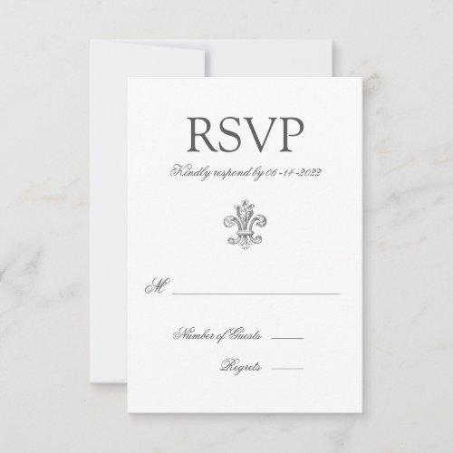 Elegant Fleur de Lis Wedding RSVP 2