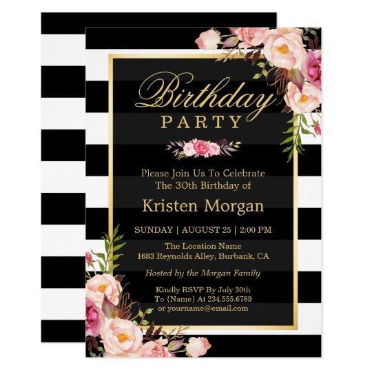 Elegant Floral Black White Stripes Birthday Party Card