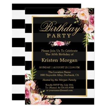 Elegant Floral Black White Stripes Birthday Party Invitation