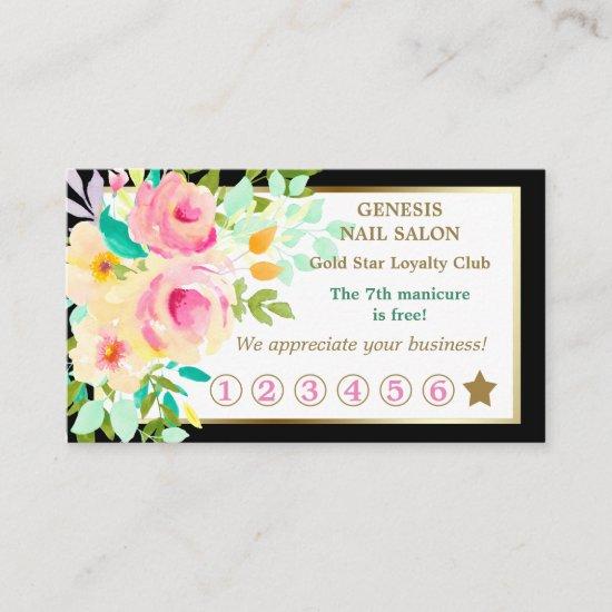 Elegant Floral Bouquet Nail Salon Loyalty Card