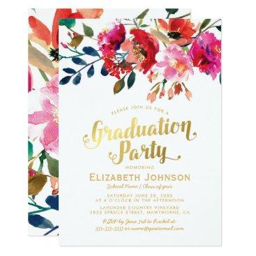 Elegant Floral Watercolor Graduation Party Card