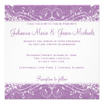 Elegant Flourish African Violet Wedding Invitation