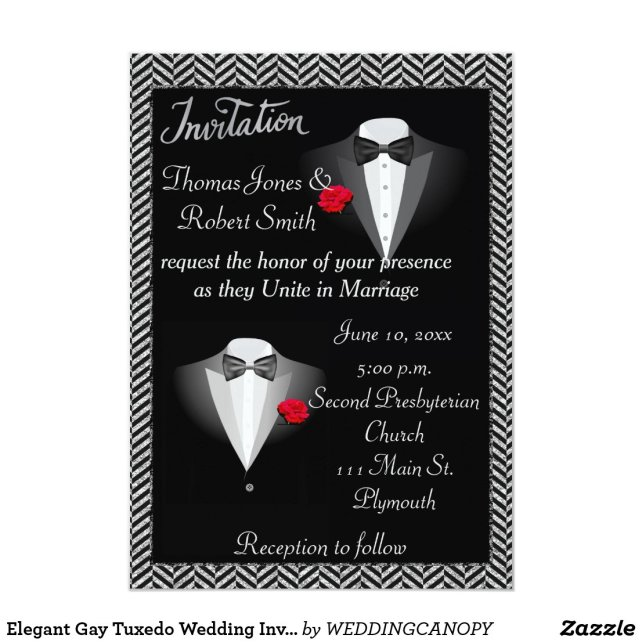 Elegant Gay Tuxedo Wedding Invitation