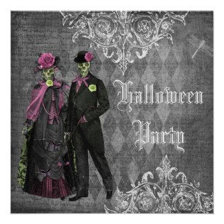 Elegant Glamorous Skeletons Halloween Party Custom Announcement