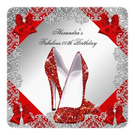 Elegant Glitter Red Stiletto Birthday Party Invitation