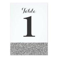 Elegant Glitter Wedding Table Number Cards | Zazzle