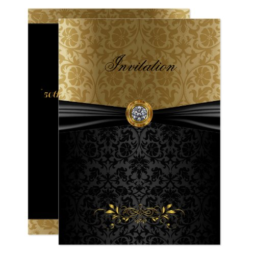 Elegant Gold and Black Damask Invitation