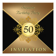 Elegant Gold Black 50th Birthday Surprise Party In Personalized Invite