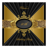 Elegant Gold Black Leopard 50th Birthday Party Invite