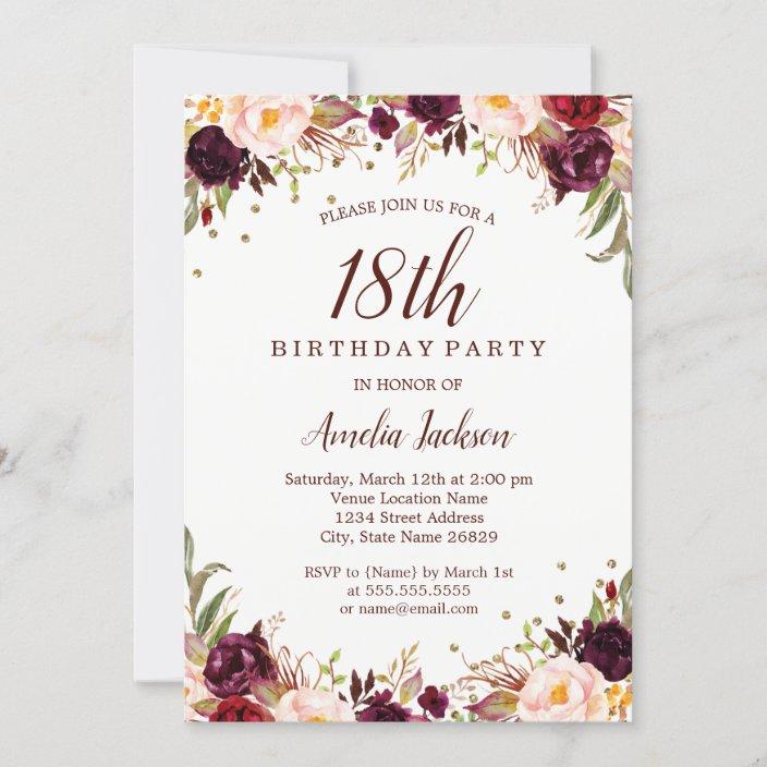 elegant gold burgundy floral 18th birthday party invitation zazzle com