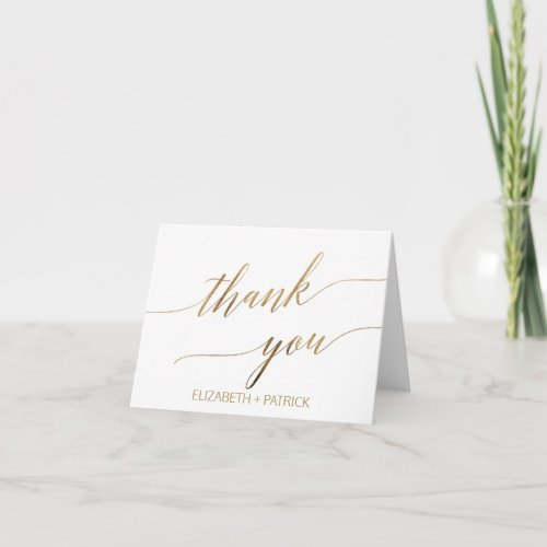Elegant Gold Calligraphy Thank You Card