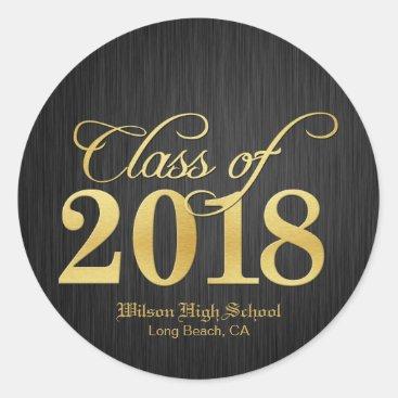 Elegant Gold Class of 2018 Graduation Classic Round Sticker