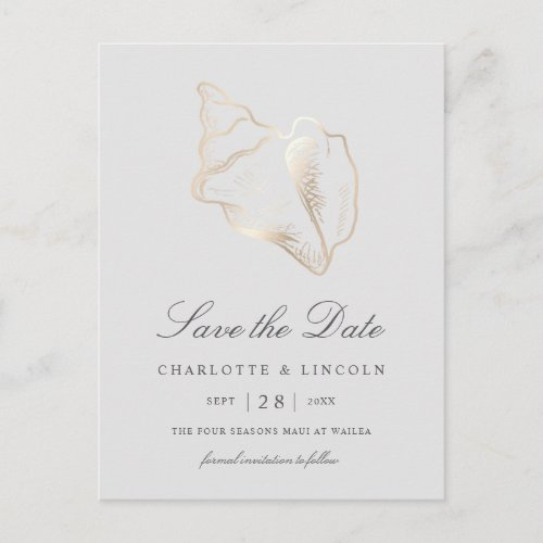 Elegant Gold Conch Shell Wedding Save the Date Announcement Postcard