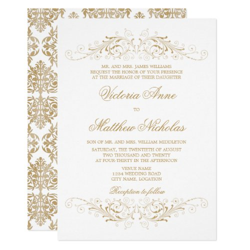 Elegant Gold Flourish and Damask Invitation
