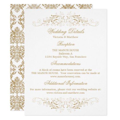 Elegant Gold Flourish Damask Wedding Details Invitation