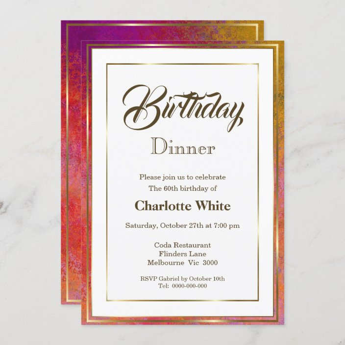 elegant gold frame 60th birthday dinner invitation zazzle com