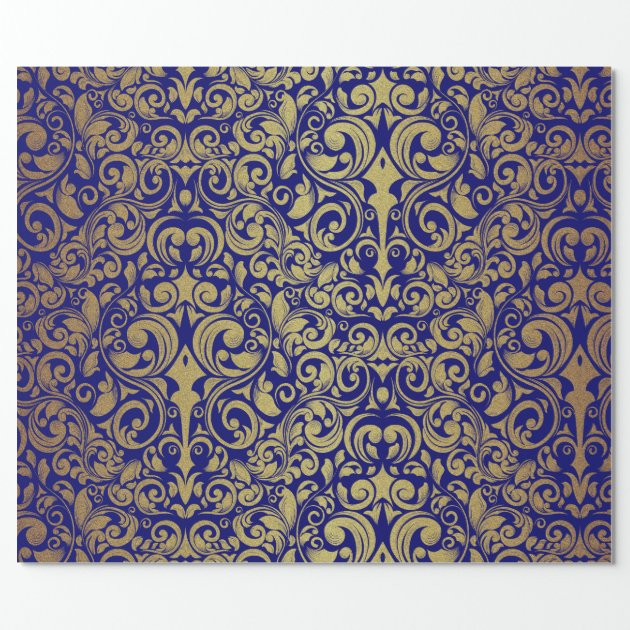 Elegant Gold Glitter Royal Blue Damask Wrapping Paper  Zazzle