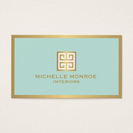 Elegant Gold Greek Key on Mint Interior Designer Business Card  Zazzle