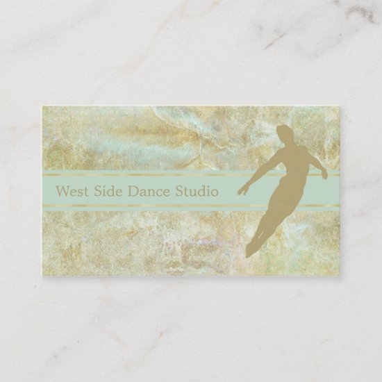 Elegant Gold Mint Abstract Dance Business Card