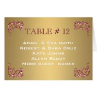 Elegant Gold Table number template wedding Card | Zazzle