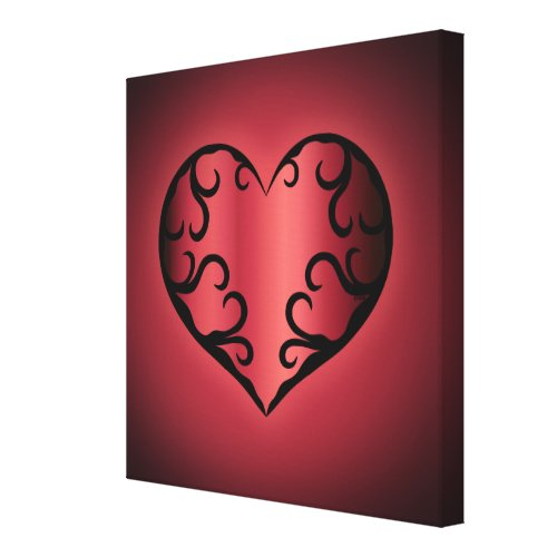 Elegant gothic pinkish reddish Valentine heart Canvas Print