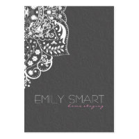 Elegant Gray Damasks White Vintage Lace Large Business Cards (Pack Of 100)