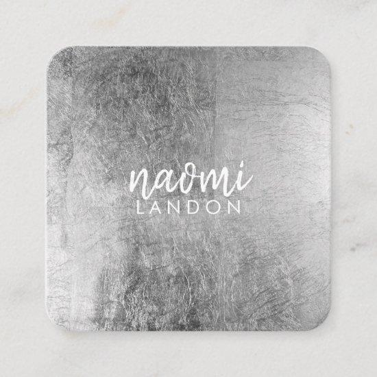 Elegant gray silver modern square minimalist white square business card