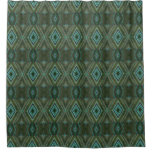 Elegant Green Diamond Pattern Shower Curtain