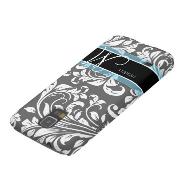 Elegant Grey and white floral damask w/ monogram Galaxy S5 Case