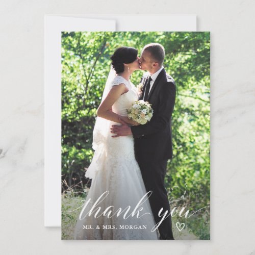Elegant Handwriting Wedding Photo Thank You Card