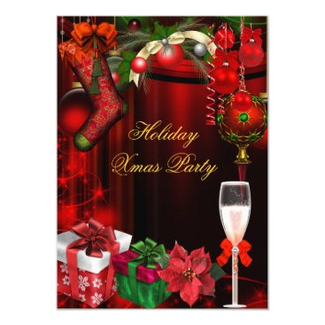 Elegant Holiday Party Green Gold Champagne Card