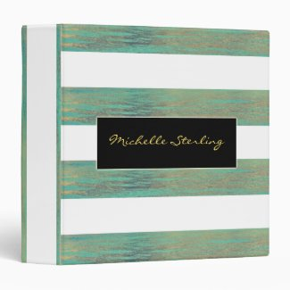 Elegant Iridescent Abalone Inspired Stripes Binder