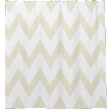 Elegant Ivory and White Chevron Patterns Shower Curtain