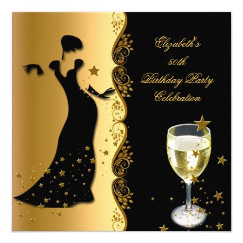 Elegant Lady 50th Birthday Party Gold Black Wine Card