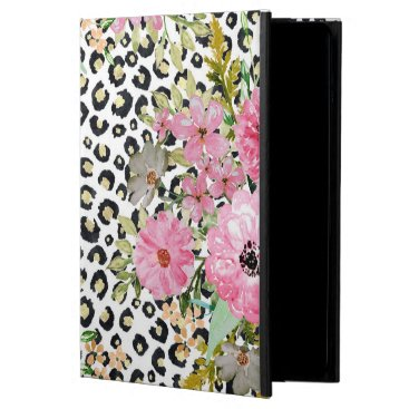Elegant leopard print and floral design case for iPad air