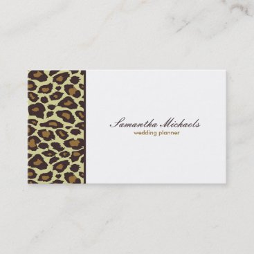 Elegant Leopard Wedding Planner Business Card