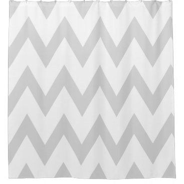 Elegant Light Gray and White Chevron Patterns Shower Curtain