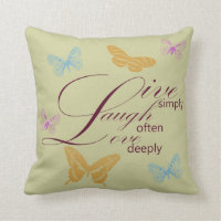 Elegant Live Laugh Love Throw Pillow