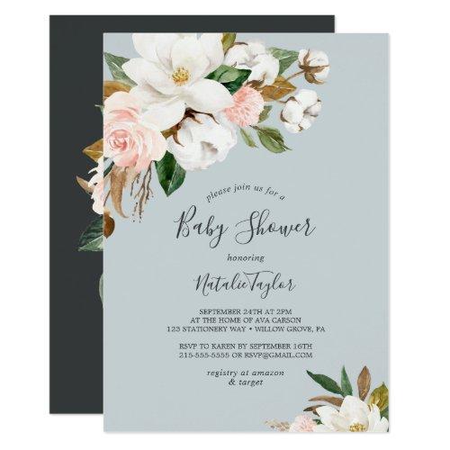 Elegant Magnolia | Blue Gray Baby Shower Invitation