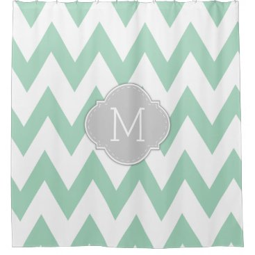 Elegant Mint Green and White Chevron with Monogram Shower Curtain