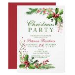 Elegant mistletoe watercolor red  green Christmas Invitation
