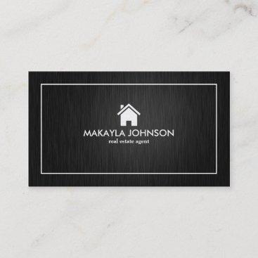 Elegant & Modern Black and Gold Real Estate Business Card
