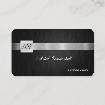 Elegant  & Modern Black and Silver Business Cards