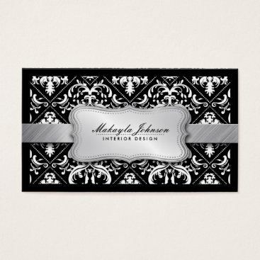 Elegant Modern Black and White Damask With Silver Business Card