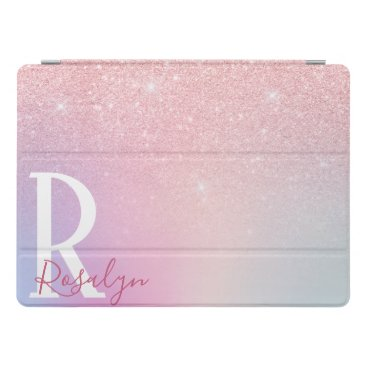 Elegant modern girly ombre pink rose gold glitter iPad pro cover