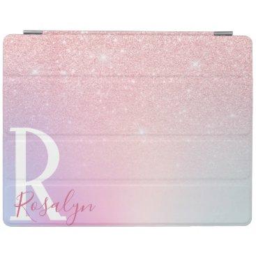 Elegant modern girly ombre pink rose gold glitter iPad smart cover